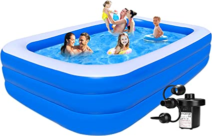 Inflatable Pool For Kids And Adults Rectangle Pool Above Ground Swimming Pool 10ft Kiddie Pool Toddler Pool Family Pool For Kids Pools For Backyard Outdoor Party Pump Included Toys Games