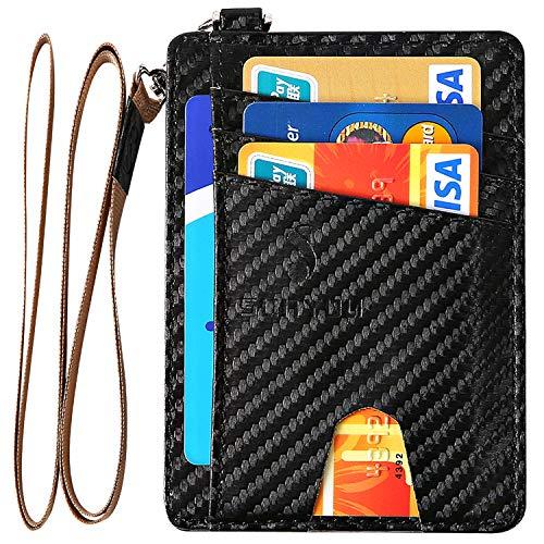 Sunyou Slim Minimalist Front Pocket RFID Blocking Leather Wallets, Microfiber Leather Money Clip Wallet, ID Card Credit Card Holder for Man & Women (black, carbon fiber)