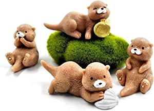 Kimkoala Miniature Otters Figurines, 4Pcs Cute Otters Family Figures Cartoon Animal Crafts for Fairy Garden Dollhouse Decoration Home Decor Cake Toppers Toys Gift for Children