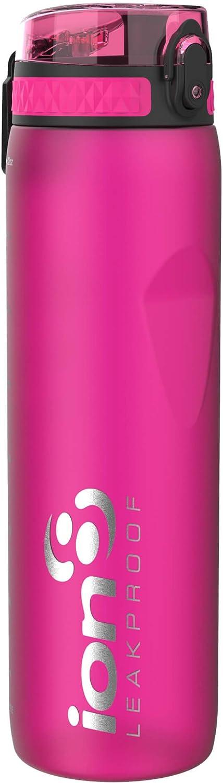 ion8 Leak Proof BPA Free, Botella de agua, sin BPS, a pueba de fugas, Rosa (Frosted Pink), 1000 ml