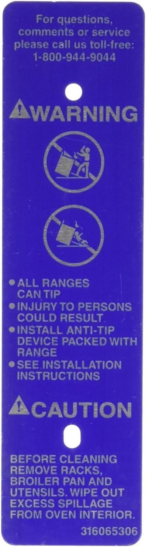 GENUINE Frigidaire 316065306 Range/Stove/Oven Label Unit