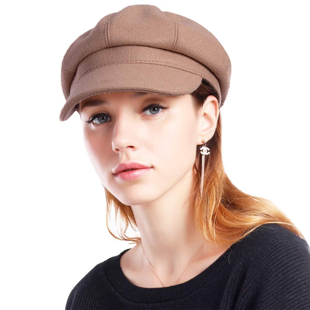 Taylormia Womens Fall Winter Classic Newsboy Cabbie Beret Hat Soft Warm Wool Octagonal Cap(Khaki)