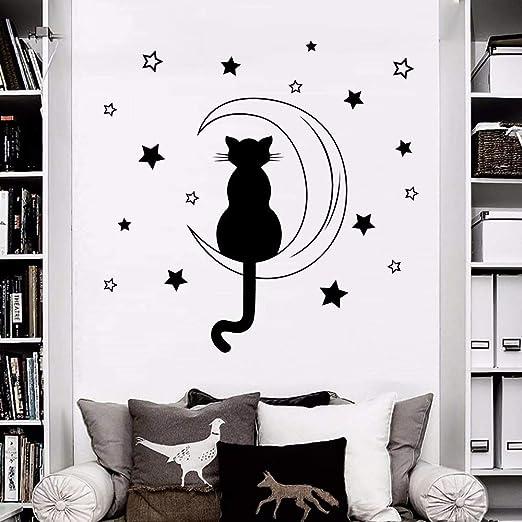 Juabc Decoración De La Pared Gato Silueta Sentado En La Luna ...