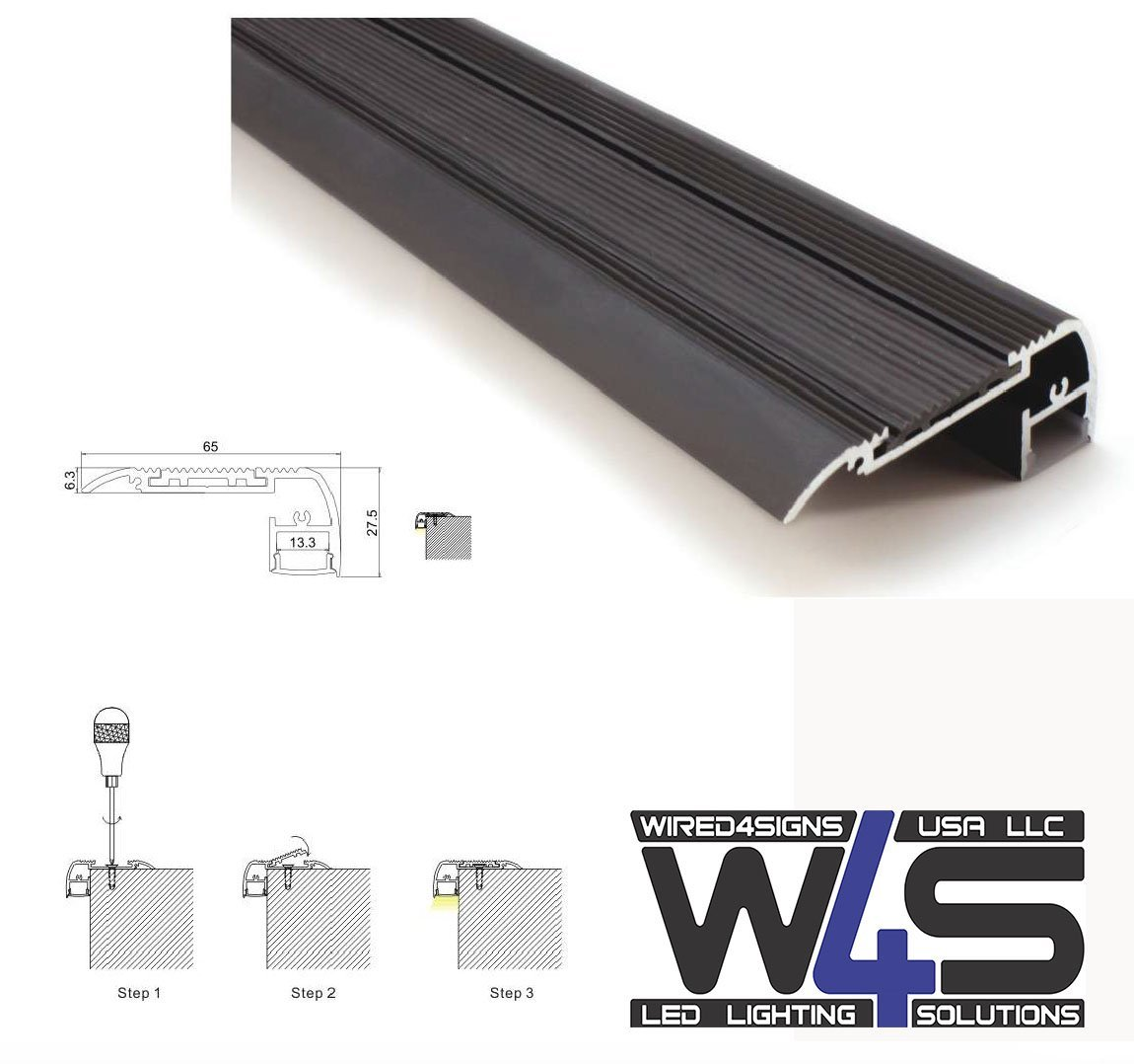 Black LED Stair Lights Channel - Model A49 [Profile Only] by Wired4Signs USA