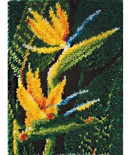 Papagei Teppich Kn/üpfteppich f/ür Kinder und Erwachsene zum Selber Kn/üpfen-Teppich F/ür Kinder Latch Hook Kit Gro/ße Kn/üpfset Bastelset 52cm x 38cm