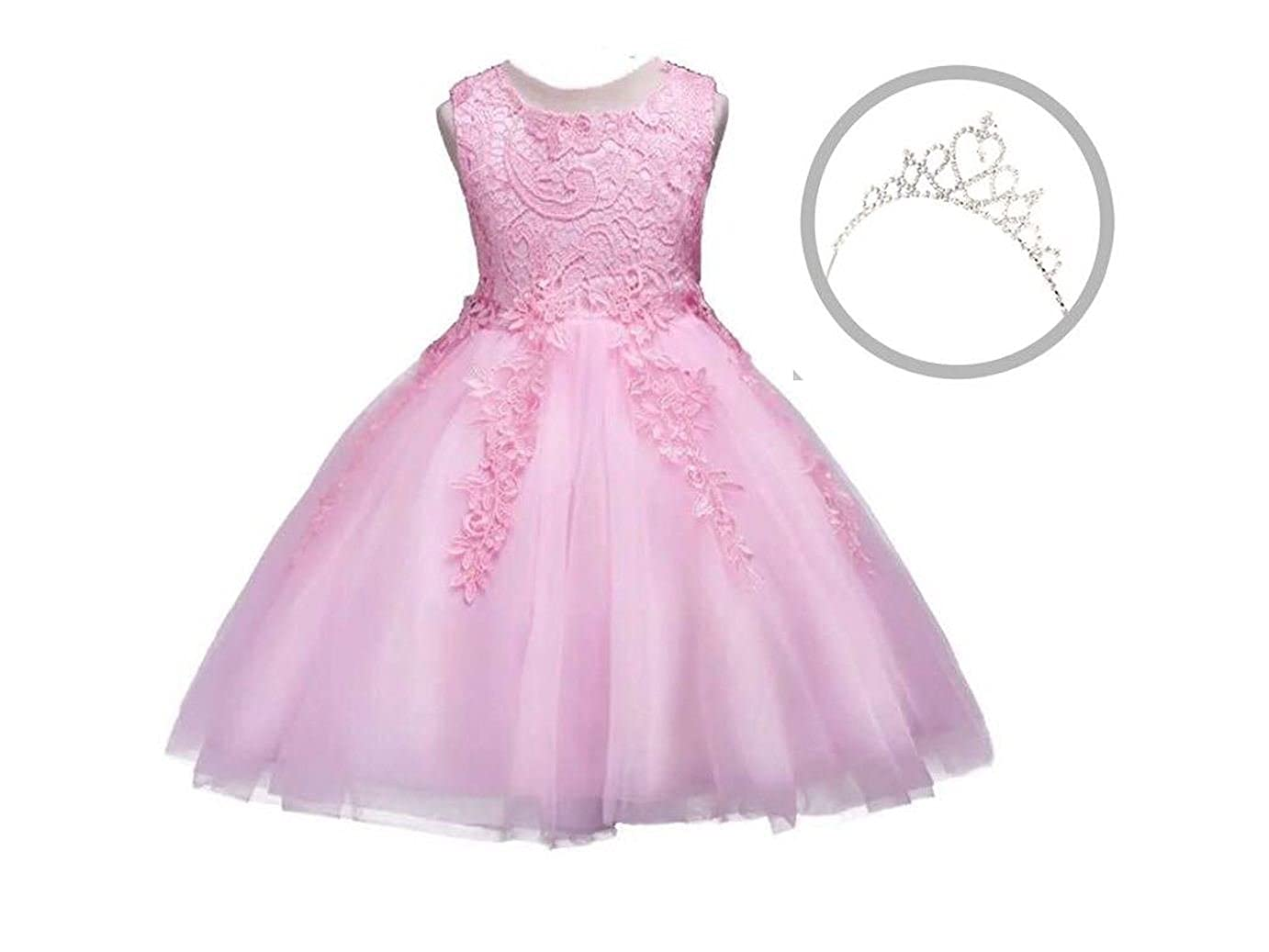 Summer Boutique//Tiara Included Girls Baby Lace Embroidery Formal Princess Wedding Christening Dress Perfect for Birthday Christmas Party//Present Gift