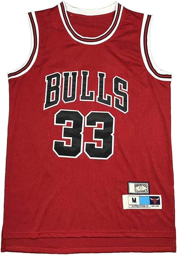 90S Hip Hop Kleidung T-Shirt Top f/ür Party XS-XXL Legend Basketball Trikot,33# Scottie Pippen Chicago Bulls Stickerei Atmungsaktives Swingman Trikot