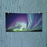 Fitness Towel Exquisite Atmosphere Solar Starry Sky Calming Night Image Mint Green Dark Blue Violet No Fading Multipurpose L35.4 x W11.8 inch