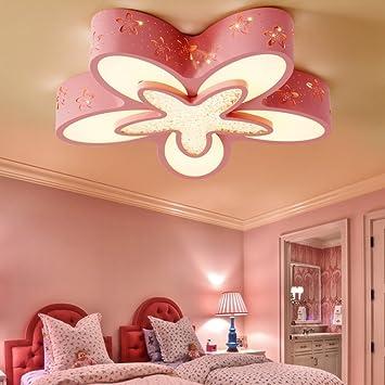 YANGFEIFEI Bürodeckenleuchten Einfach Blumen LED Patch Dimmbar Kinderzimmer  Eisen Deckenleuchten Schlafzimmer Prinzessin Zimmer Lampen Wohnzimmer