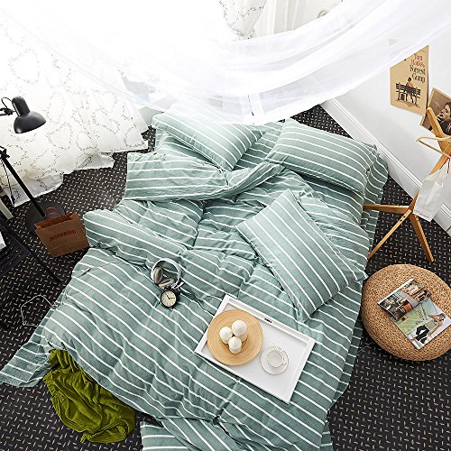 Autumn Modern Green Striped Duvet Cover Set Queen Size for Boys and Girls, Soft and Warm Washed Cotton Kids Students Bedding Sets by FashionStreets