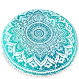 "Bohemian Décor Floor Cushion Cover - 30"" Round Floor Pillow Pouf Cover - Green -Hand Print Organic Cotton by Mandala Life ART"