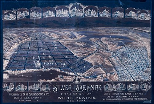 18 x 24 Blueprint Style Reproduced Old Map of: 188-0Silver Lake Park, on St Mary's Lake, White Plains, New York by O.H. Bailey & Co.S.H. Gainsborg & Co. - 42nd And Park