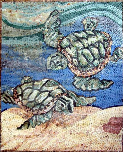 - Hand Made Sea Turtle Marble Mosaic Decorative Wall Floor Bath Pool
