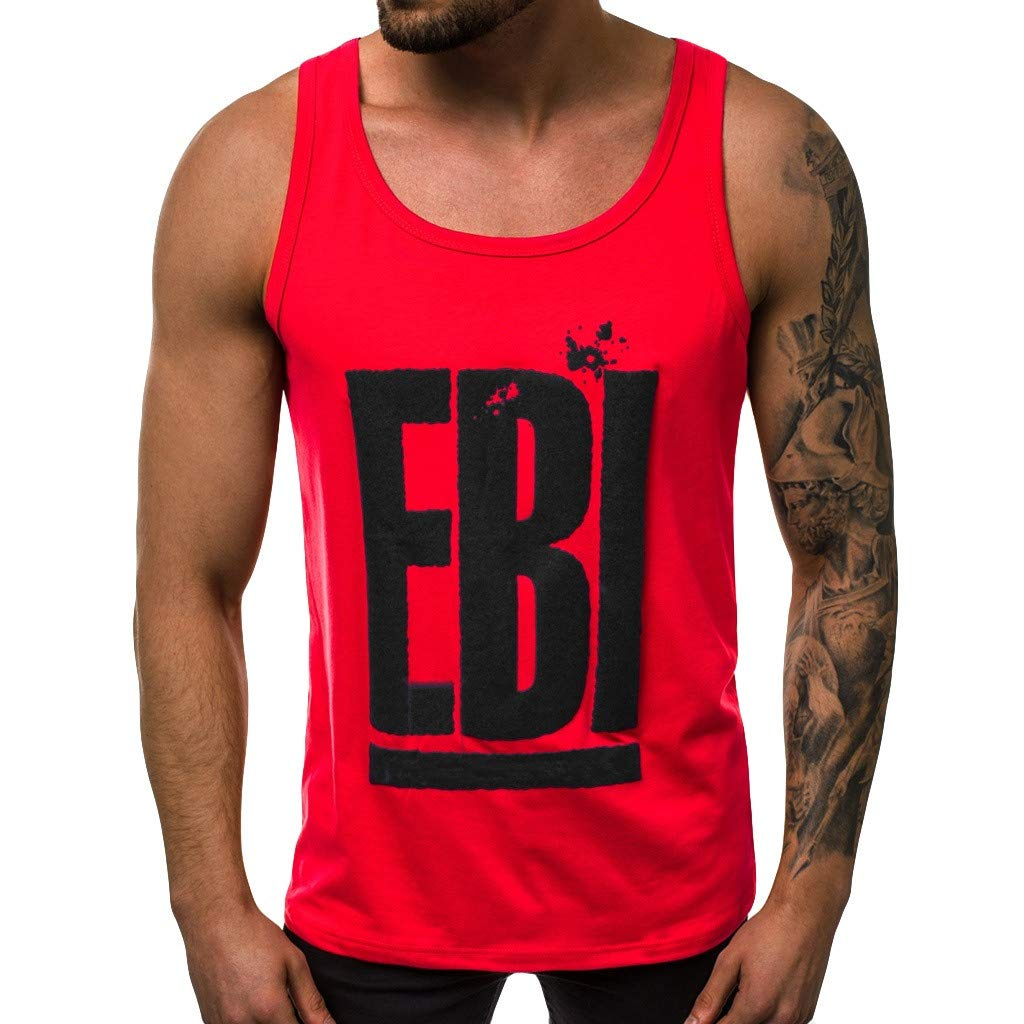XQXCL Men's Cotton EBI Alphabet Printing Vest Solid Color Elastic Sleeveless Round Neck Blouse Tops Red