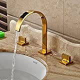 Rozin Gold Polished Widespread 3pcs Basin Faucet Dual Knobs Vessel Sink  Mixer Tap