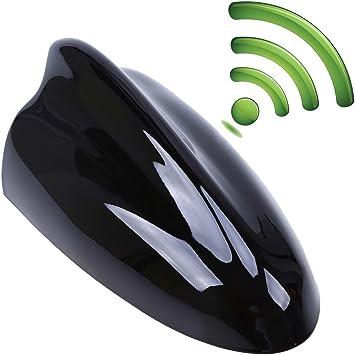 Possbay Auto Radio Am FM Antena Shark Tiburón Antena Tiburón Aleta con Amplificador (Negro)
