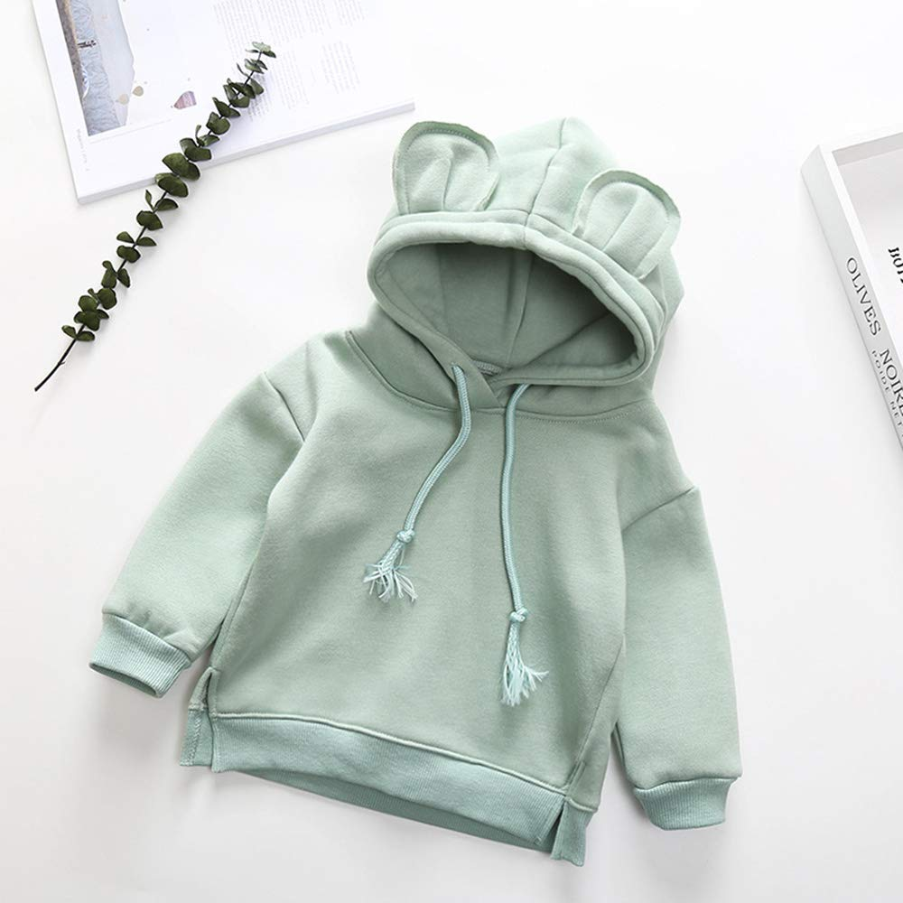 Toddler Baby Girl Cute Plain Bunny Lightweight Hoodie with Ears Hooded Tops