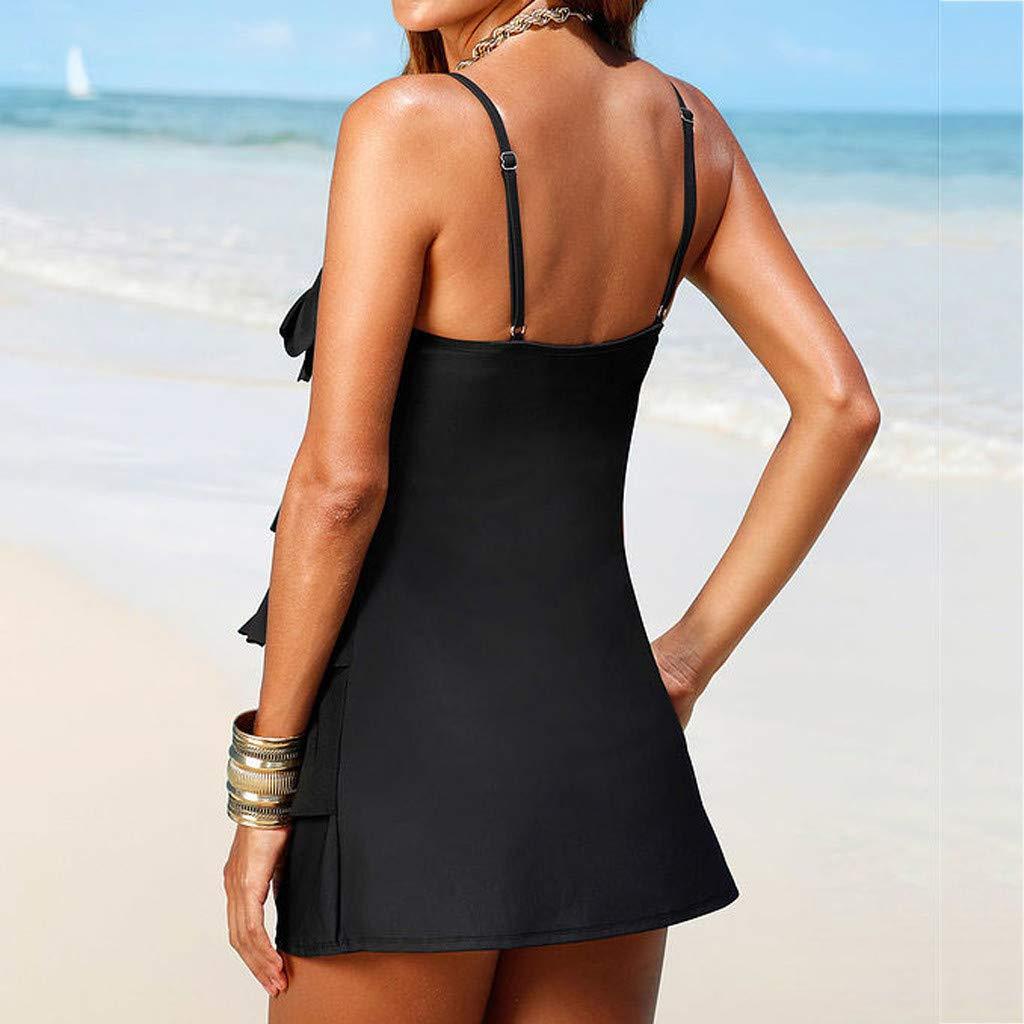 QIANSKY Women Plus Size Print Bow Tankini Bikini Swimwear Swimsuit Push-Up Bathing Suit Beachwear Bikini Sets