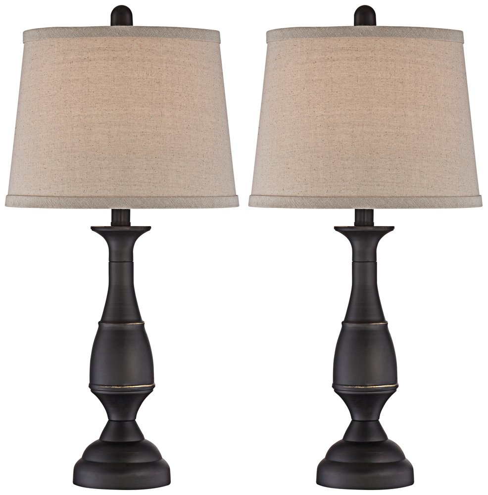 Ben Bronze Table Lamp Set of 2 w/ 15 Watt Non-Dimmable LEDs