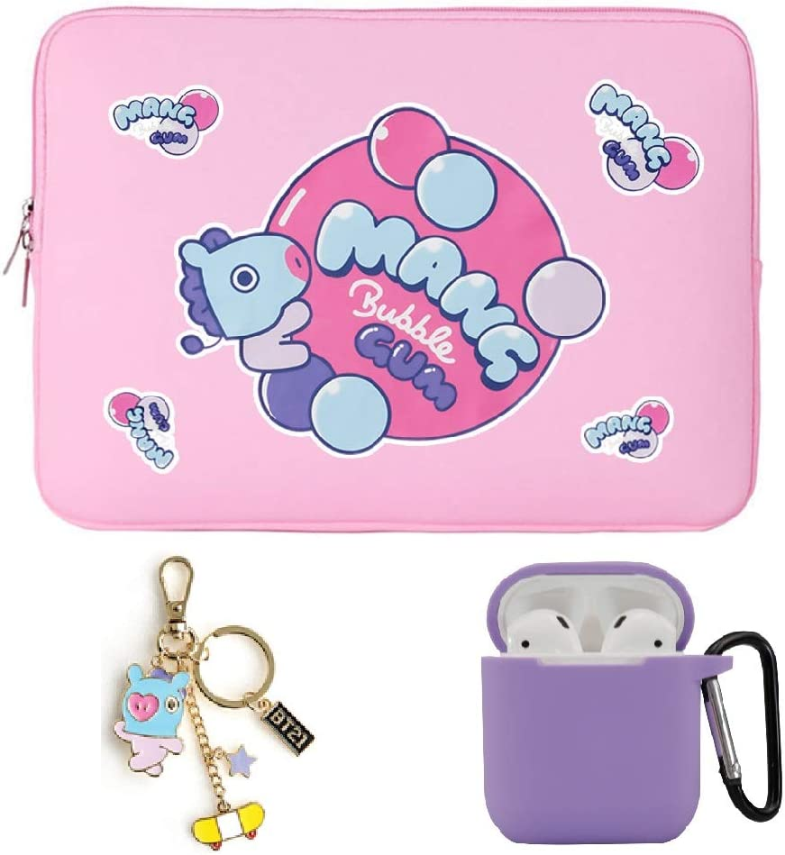 "Kpop BTS Bangtan Boys Cartoon Cute Zipper Tablet Sleeve Case for 14"" 15.6 inch Notebook, with Keychain and Airpod Case (14 inch, MANG)"