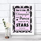 Baby Pink Black Damask Drink Champagne Dance Stars Personalized Wedding Sign