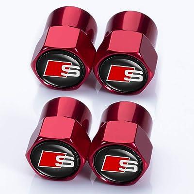 Jazzshion 4 Pcs Metal Car Wheel Tire Valve Stem Caps for Audi S Line S3 S4 S5 S6 S7 S8 A1 A3 RS3 A4 A5 A6 A7 RS7 A8 Q3 Q5 Q7 R8 TT Styling Decoration Accessories: Automotive