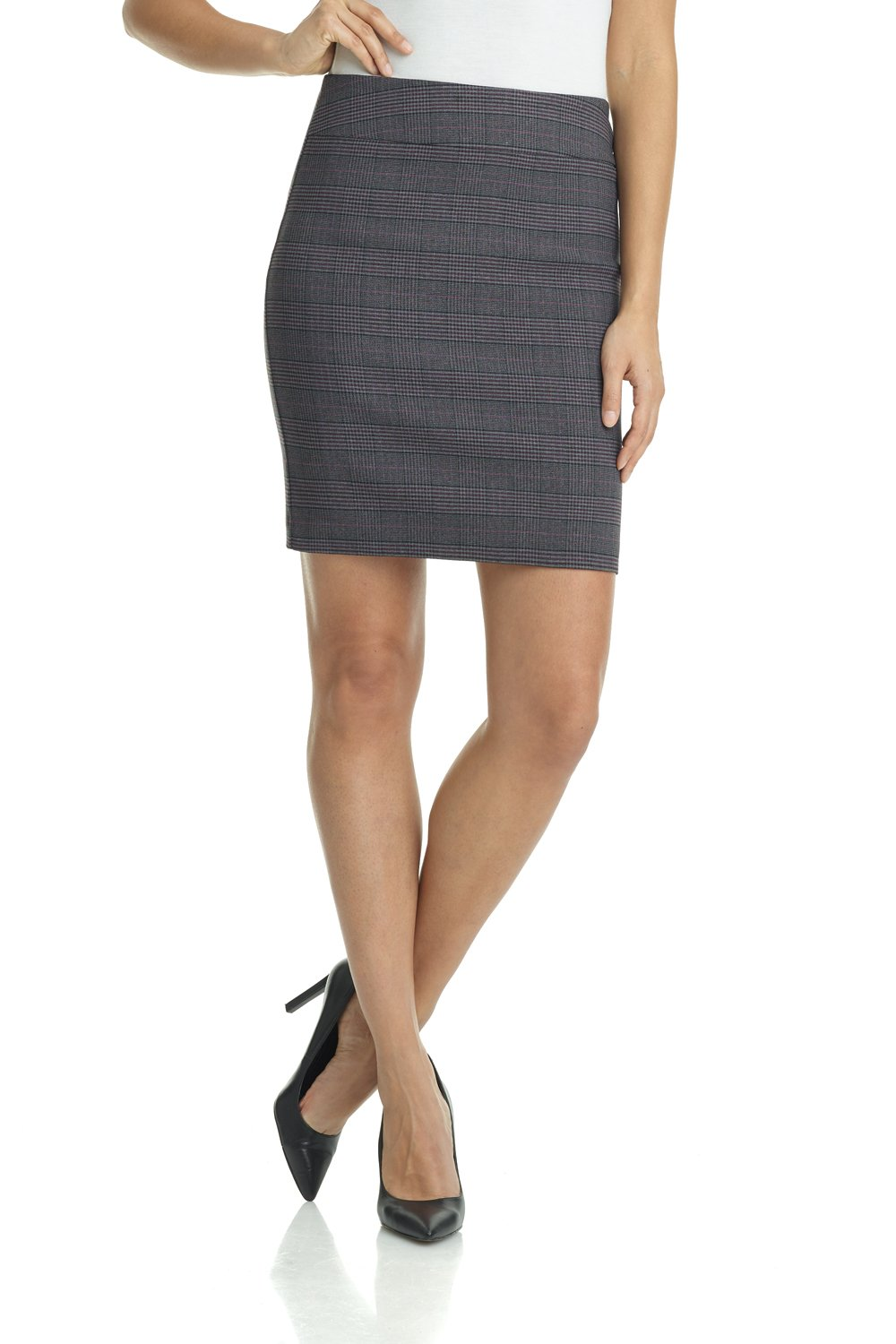 Rekucci Women's Ease in to Comfort Stretchable Above The Knee Pencil Skirt 19'' (Small,Charcoal/Wine)