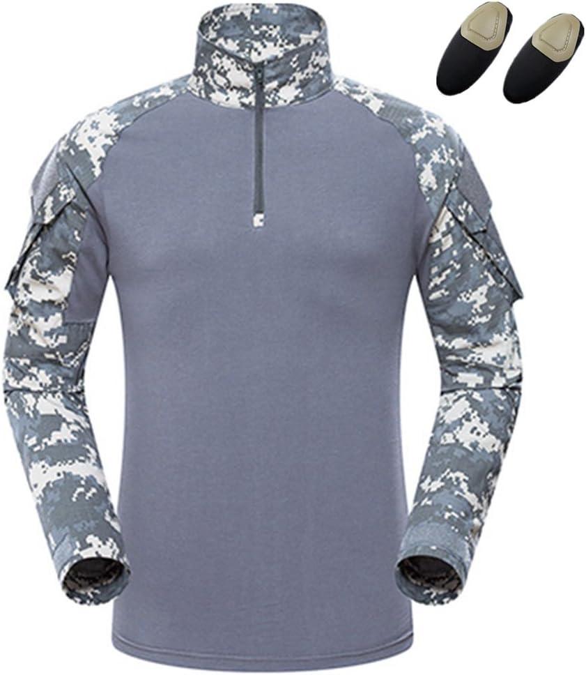 haoYK T-Shirt da Combattimento Militare Paintball con Tasche T-Shirt Manica Lunga BDU Airsoft Camicie tattiche Camo da Uomo con gomitiere