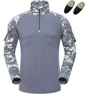 haoYK Camiseta de Combate Militar Paintball con Bolsillos Camiseta de Manga  Larga BDU Airsoft Camo Camisa 20c32774e9696