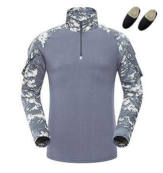 haoYK Camiseta de Combate Militar Paintball con Bolsillos Camiseta de Manga Larga BDU Airsoft Camo Camisa táctica para Hombres con Coderas: Amazon.es: ...