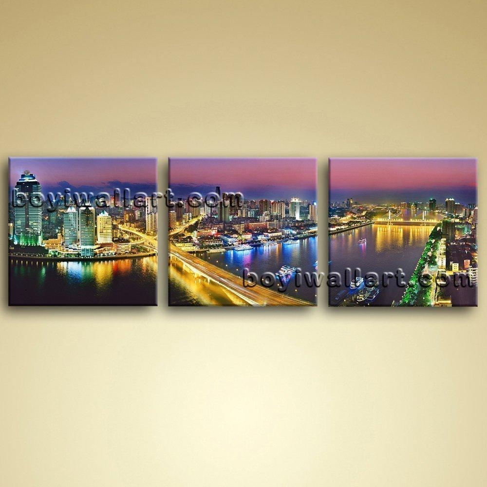 Amazon.com: Skyline Guangzhou Cityscape At Night Large Wall Art ...