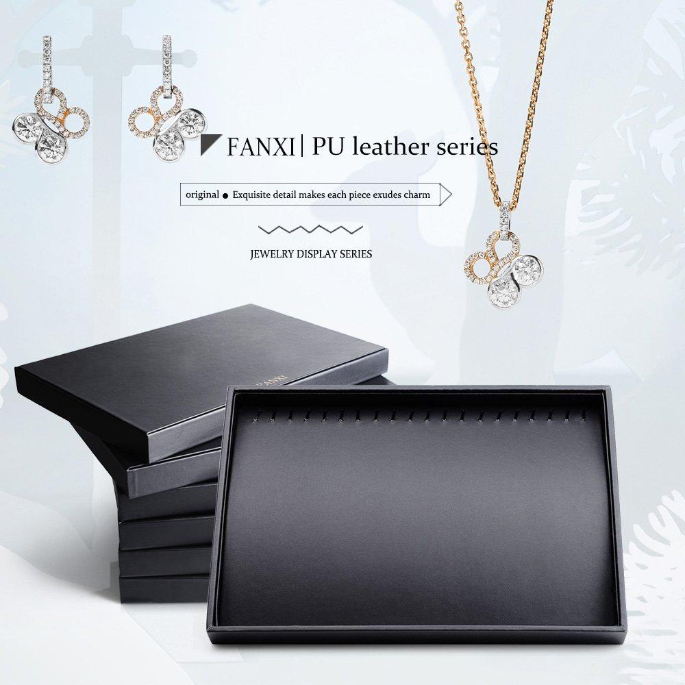 Oirlv Schwarz Pu-leder Schmuck Palette Halskette Display Tablett mit MDF f/ür Ringe Halter Schmuck Organizer Halsketten Tablett