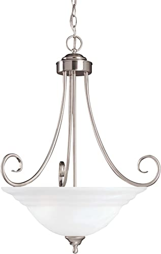 Savoy House 167-3-SN Pendant with White Marble Shades, Satin Nickel Finish
