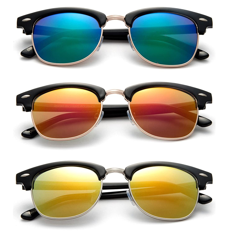 "Newbee Fashion - ""C Master"" Flat Temple Design Simple Light Weight Fashion Clubmaster Sunglasses"