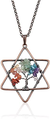 Tumbled GemStone Spiral Point Pendant Crystal Quartz Necklace 7 Chakras Pendulum