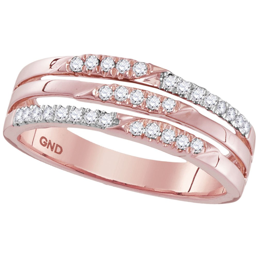 10k Rose Gold Three Row Diamond Band Fashion Ring Stackable Look Round Pave Set Style Fancy 1/5 ctw Size 5.5
