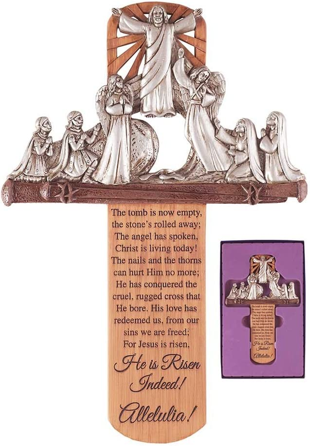 Dicksons He is Risen Indeed Alleluia 10 x 6 Inch Resin Stone Wall Cross