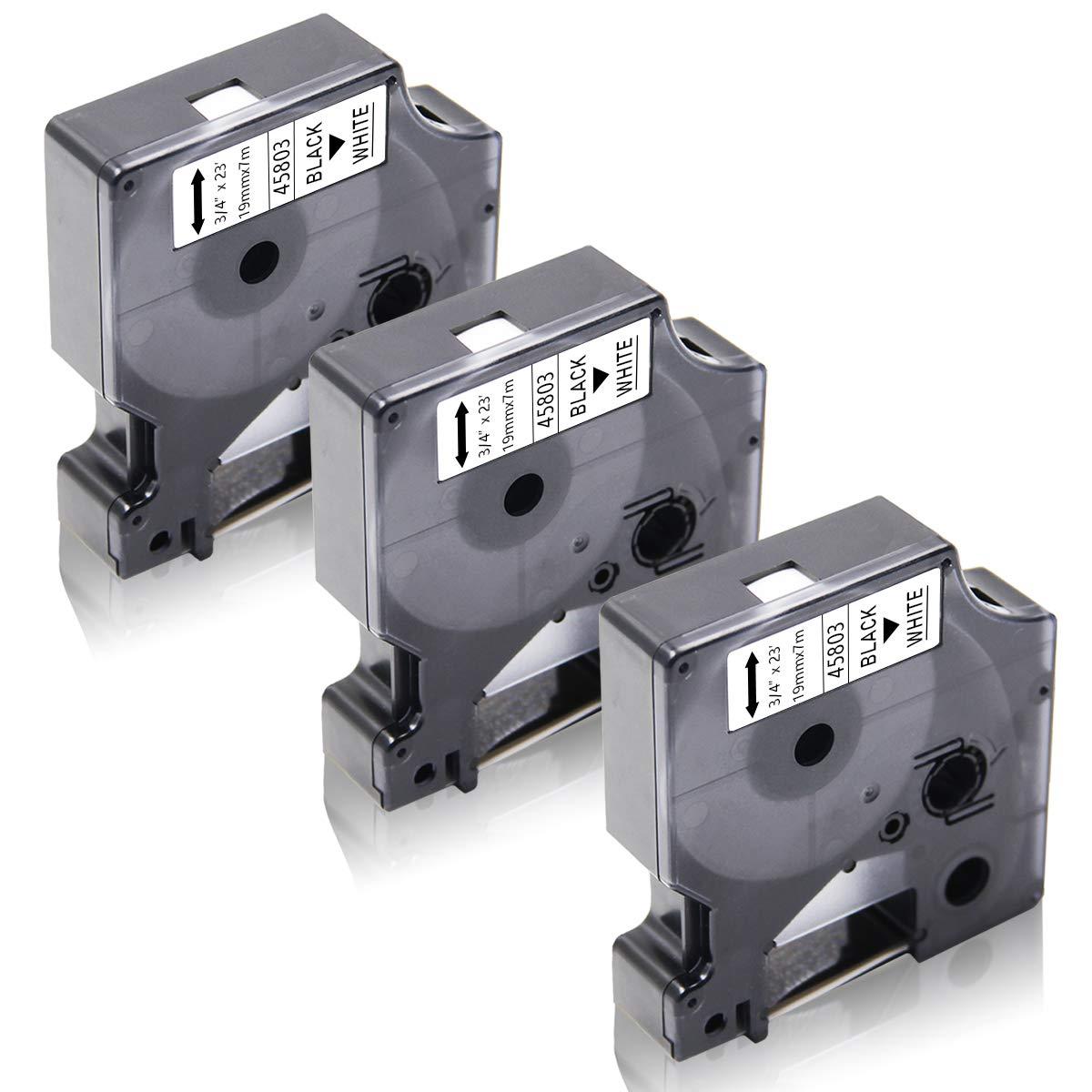 Xemax 3 Rollen 19mm x 7m Kompatibel Dymo D1 45803 S0720830 Schwarz auf Wei/ß Laminiert Schriftband LabelWriter 400 450 Duo LabelPoint 300 350 f/ür Dymo LabelManager 200 300 350 360D 450D 500TS