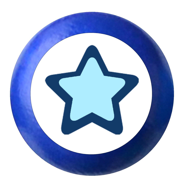 Kinder Kinderzimmer Stern hellblau dunkelblau maritim Kinderm/öbelknopf M/öbelknauf M/öbelknauf M/öbelknopf M/öbelgriff Jungen hellblau dunkelblau blau Massivholz Buche rot