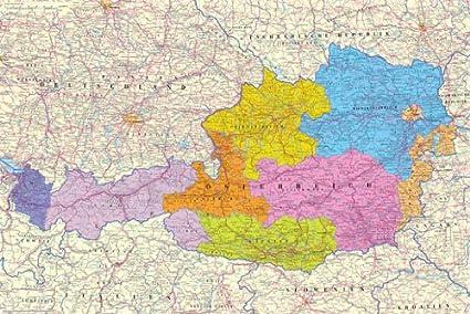 Poster Map of Austria - Österreich Karte - Größe 61 x 91,5 ...