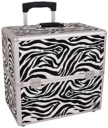 Craft Accents 3-Tiers Easy Slide Trays Professional Rolling Makeup Case, Zebra Textured Printing, 272 Ounce by Craft Accents