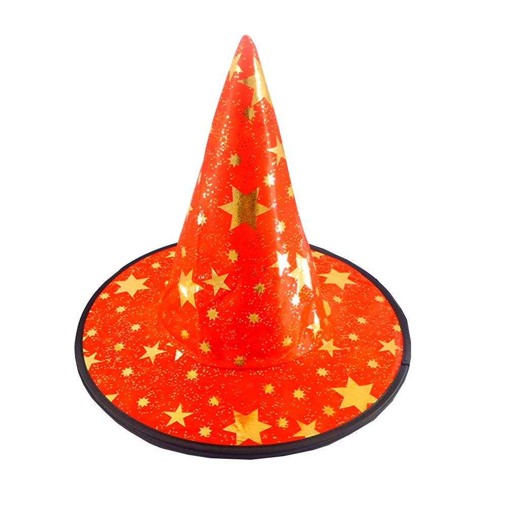 Halloween Costume Accessories Hat Skeleton Feather Wizard Witch Cap (Red)