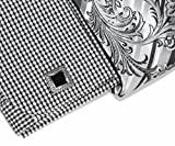 Christopher Tanner Mens Regular Fit Checks Pattern Dress Shirts with Tie/Hanky Cufflinks Combo