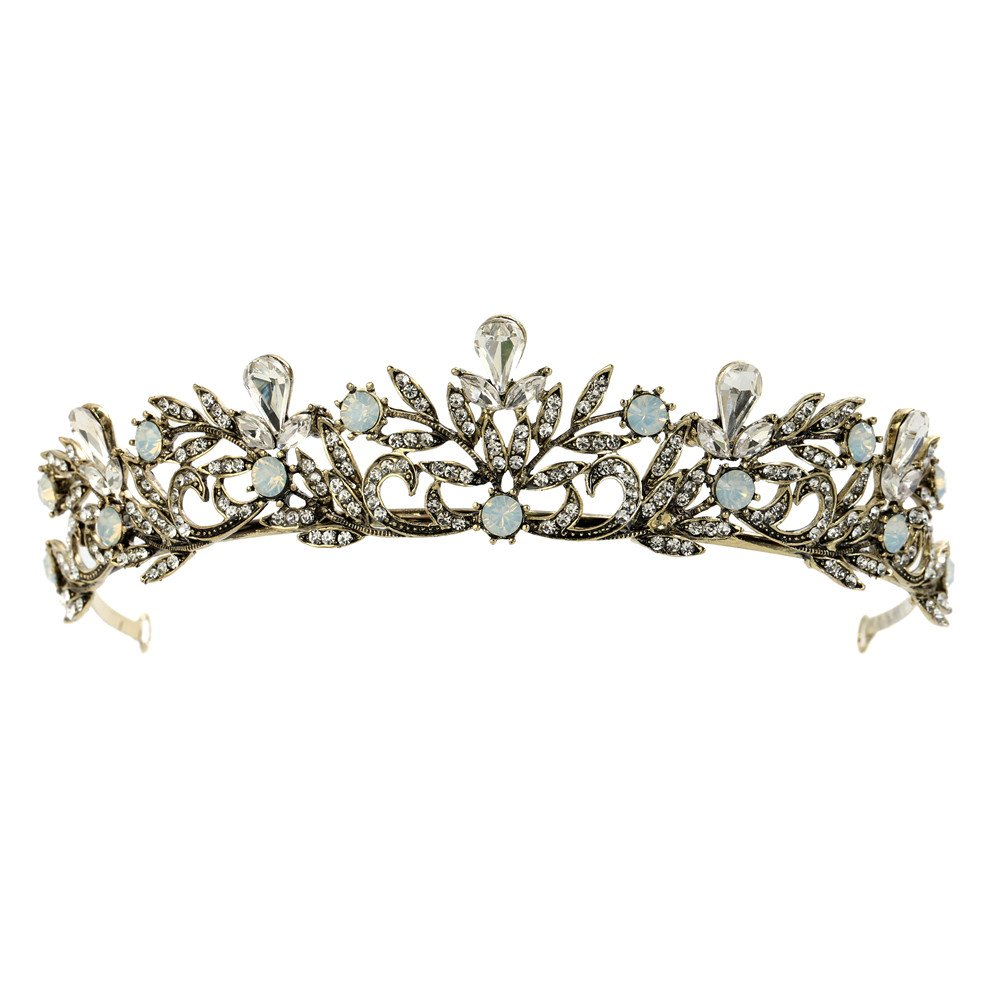 FANGZHIDI Gunmetal Opal Tiara for Women,Crystal Tiaras Crowns Baroque Style Headband Floral Leaves No Comb Costume Head-wear Decoration Metal Tiara for Women (C1153)
