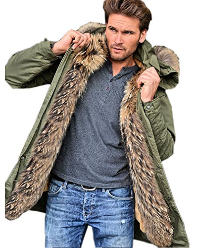 Aofur Mens Winter Warm Thick Faux Fur Slim Trench Coat Long Jacket Parka Hooded Pea Coat Winter Coat S-XXXL (XXX-Large, Green) - Lightweight Parka Hooded