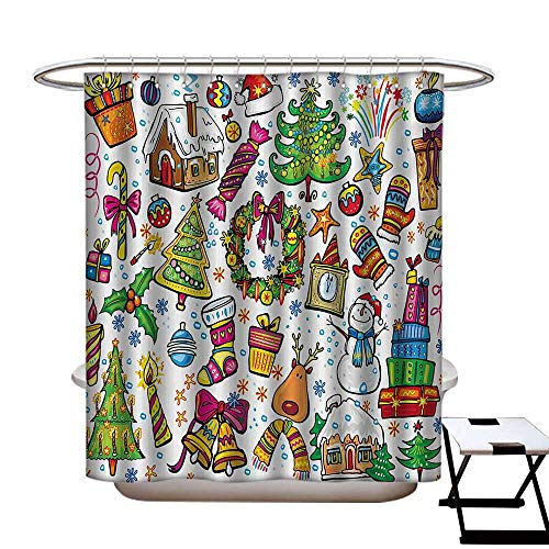 - BlountDecor Christmas Shower Curtain Customized Cute Xmas Elements with Candies Snowman Fir Sweets Celebration Kids Nursery Theme Bathroom Accessories W72 x L84 Multicolor