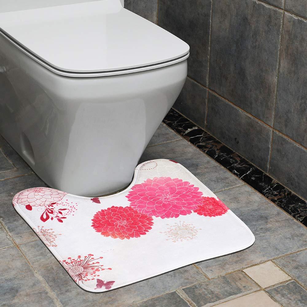 PLLP U-Shaped Toilet Seat, Bathroom Supplies Elastic Memory Cotton Flannel Mat, Toilet Mat, A Variety of Patterns,F,45×45cm