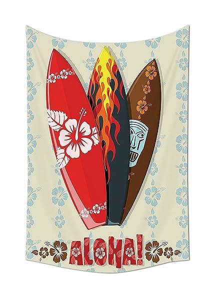 Regalos hawaiano Aloha Hawai tabla de surf tiki Tropical flores orquídeas Surf playa volcán Indian Feathers