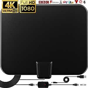 Antena TV Interior 120 millas, Antena de HDTV para interiores con amplificador de señal, 4K 1080P Ultra HD VHF UHF y cable coaxial de 9,8 pies Antena ...