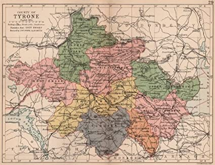 County Map Of Northern Ireland.Amazon Com County Tyrone Antique County Map Ulster